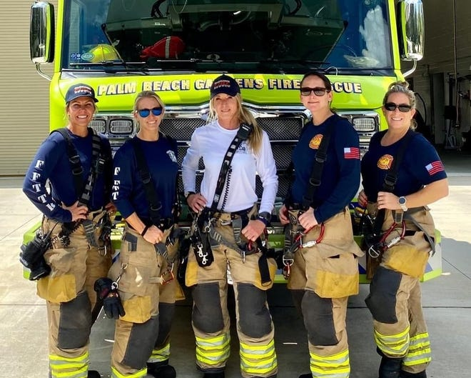 Krystyna Krakowski, Kelsey Krzywada, Julie Dudley, Monica Marzullo and Sandi Ladewski (L to R) composed the first all-female crew with Palm Beach Gardens Fire Rescue when they worked a shift together Sept. 18.