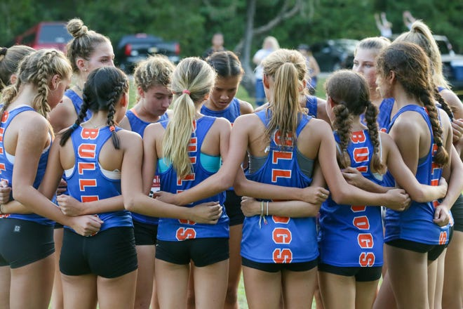 The Bolles girls, pictured at the Katie Caples Invitational, swept the top seven places at the Region 1-2A girls cross country meet.