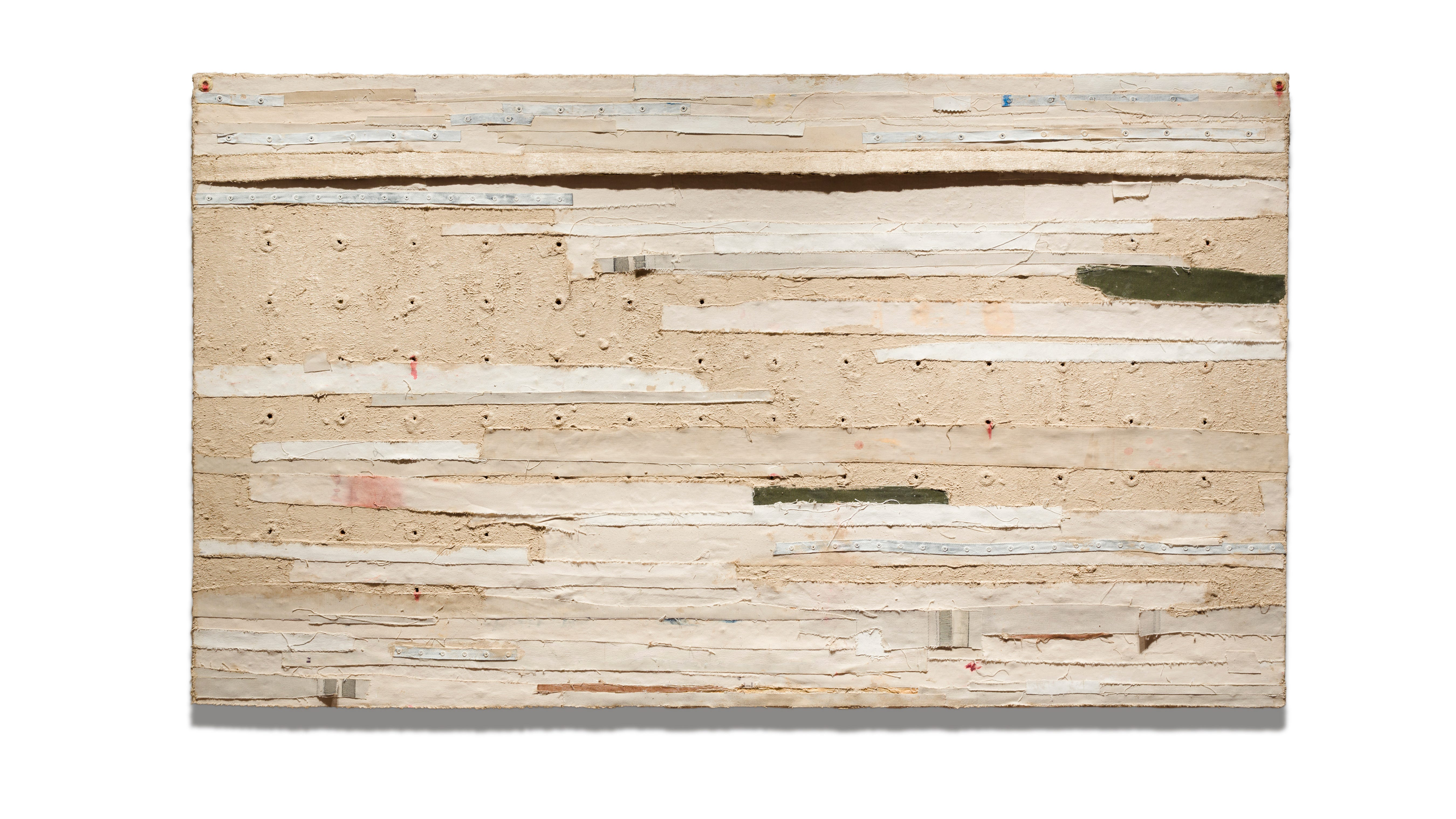 """Harmony Hammond's """"Bandaged Grid"""" is featured in an exhibition at Sarasota Art Museum of Ringling College."""