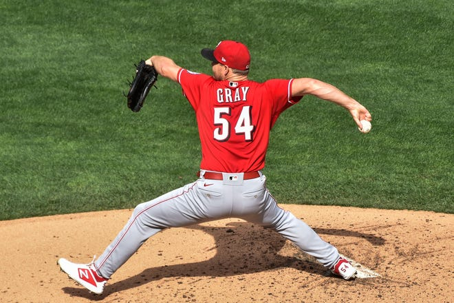 Sep 27, 2020; Minneapolis, Minnesota, USA; Cincinnati Reds starting pitcher Sonny Gray (54) throws a pitch against the Minnesota Twins during the second inning at Target Field.