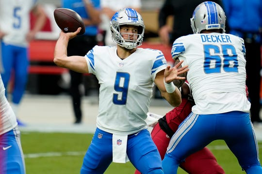 Lions quarterback Matthew Stafford throws in the first half on Sunday, September 27, 2020, in Glendale, Ariz.