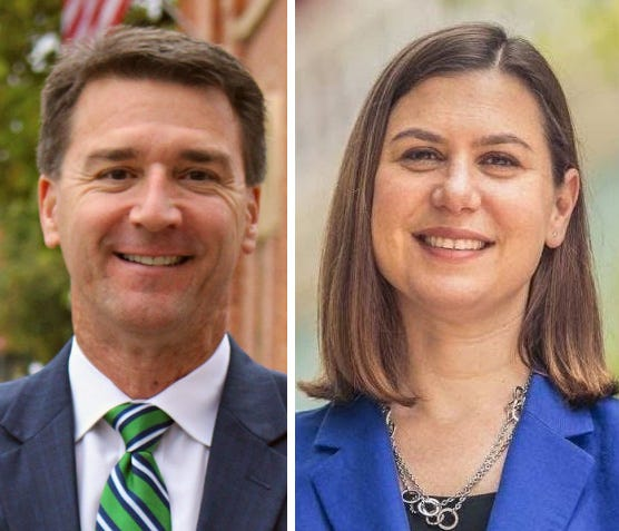 Paul Junge, R-Brighton (left) and U.S. Rep. Elissa Slotkin, D-Holly faced off in their third and final debate in Livingston County, Tuesday, Oct. 6, 2020.
