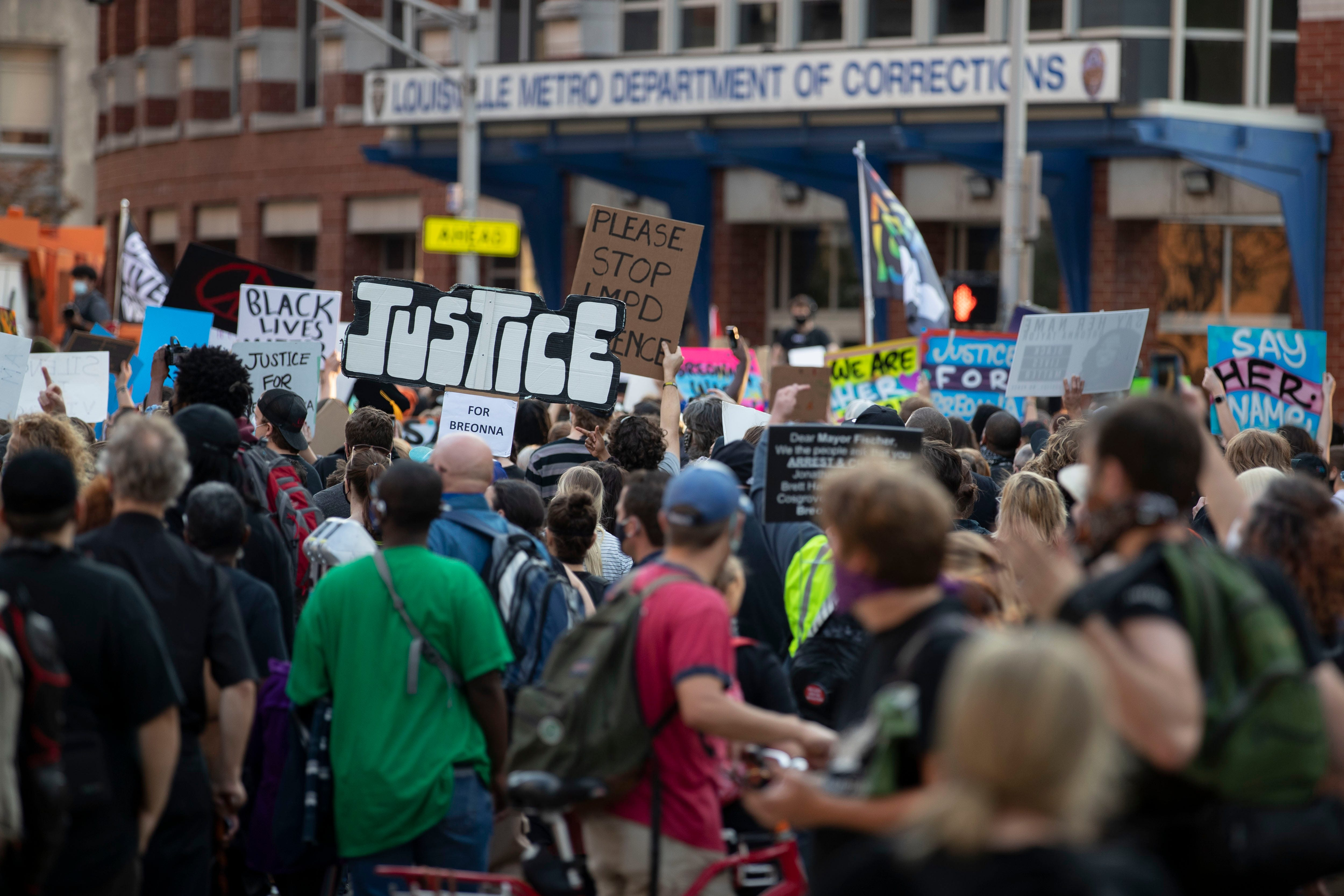 Protesters set out on a march from Jefferson Square Park on Saturday, Sept. 26, 2020, in downtown Louisville.