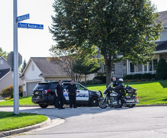 City of Franklin police block nonresidents from entering a subdivision at Woodfield Dr. and Forest Meadows Dr. to prevent a protest at Mayor Steve Olson's home on Friday, September 25, 2020. Protesters planned to voice their opposition against the Strauss Brands' proposed slaughterhouse expansion, but were denied entrance to the subdivision based on a no picketing ordinance.