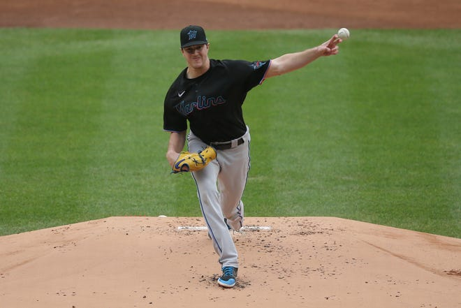 Miami Marlins starting pitcher Trevor Rogers (95) pitches against the New York Yankees during the first inning at Yankee Stadium on Sept. 26, 2020. Rogers threw three scoreless innings before being replaced.