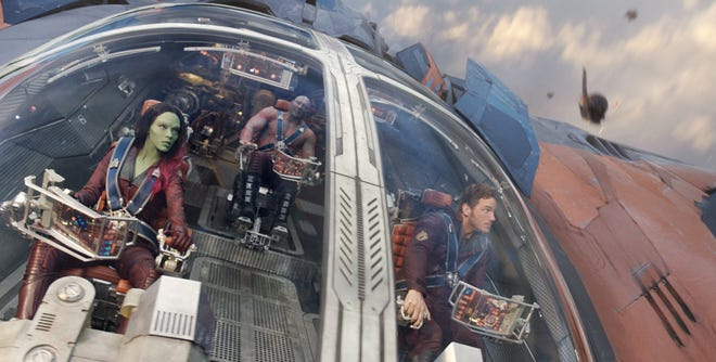 """Marvel's """"Guardians of the Galaxy"""" stars, from left, Zoe Saldana as Gamora, Vin Diesel as the voice of Groot, Dave Bautista as Drax the Destroyer, and Chris Pratt as Peter Quill/Star-Lord."""