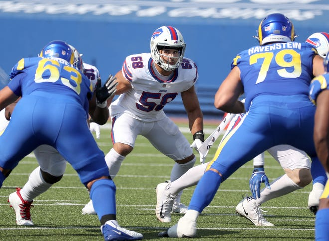 Bills linebacker Matt Milano steps up to the line of scrimmage against the Rams.