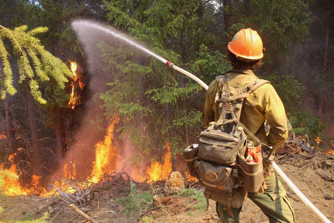 A Mendocino Hotshot cools a flare-up during a burning operation on the northwest flank of the August Complex on Saturday, Sept. 26, 2020.