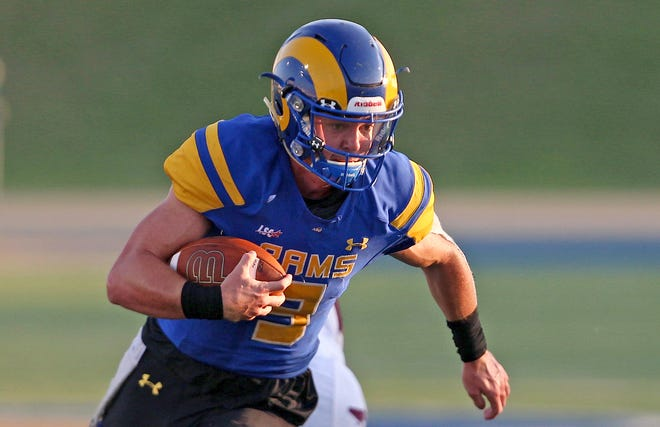 Zach Bronkhorst rushes the ball for Angelo State University during a game against West Texas A&M on Saturday, Sept. 26, 2020.