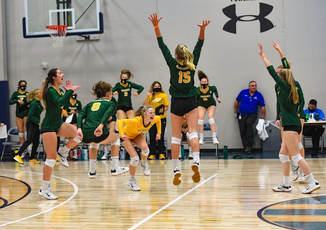 The Northwestern volleyball team celebrates winning the third set 26-24 to win their match against Dakota Valley on Saturday, September 26, at the Sanford Pentagon High School Volleyball Tournament in Sioux Falls.