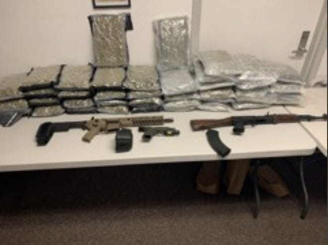 A photo of the 40 pounds of marijuana and three guns seized after the Tallahassee Police Department conducted a residential search warrant Saturday, Sept. 26, 2020.