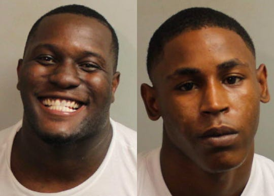 Javon O'Neal, left, and Kelton Forbes were arrested on drug charges after the Tallahassee Police Department served a search warrant on a residence Saturday, Sept. 26, 2020.