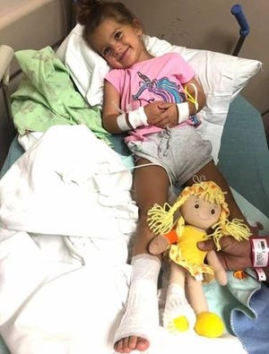 """Harper Wilkes, 3,  was treated at the JMS Burn Clinic at Capital Regional Medical Center."""""""