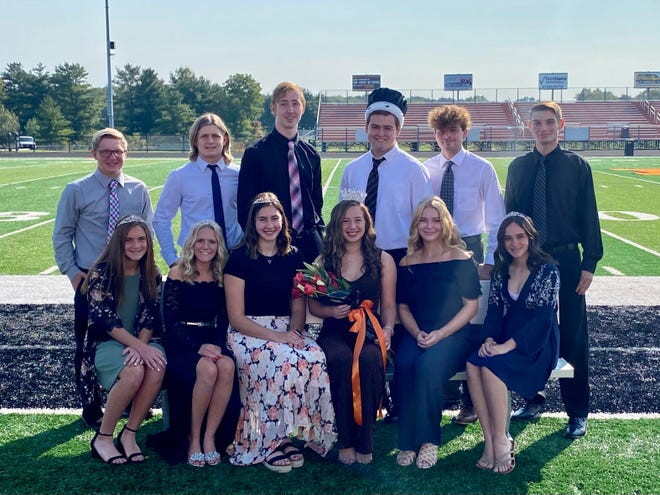 Marlington High School's 2020 homecoming court is, seated from left, Stella Blake, Mykah Kackley, Allison Lacher, Lexi Sabatino, Ella Dipold, Koryn Greiner; and standing from left, Carter Difloure, Danny Grimes, Aiden Trummer, Walter Bungard, Macagey Laure, Grant Young.