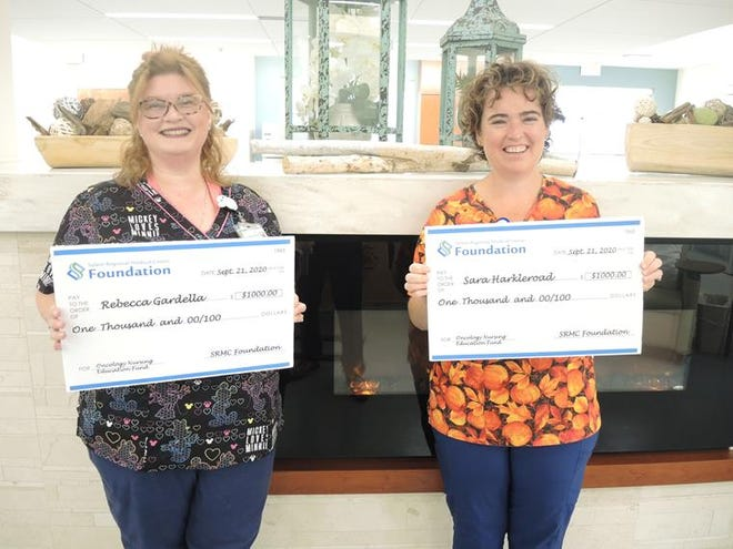 Registered nurses Rebecca Gardella and Sara Harkleroad each received $1,000 as part of the first Oncology Nursing Education Fund scholarship distribution through the Salem Regional Medical CenterFoundation.