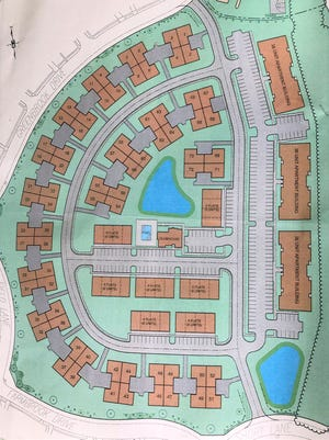 This site plan shows the layout for the homes and apartments that McGrath Homes wants to build at the former John Fitch Elementary School site in Bristol Township.