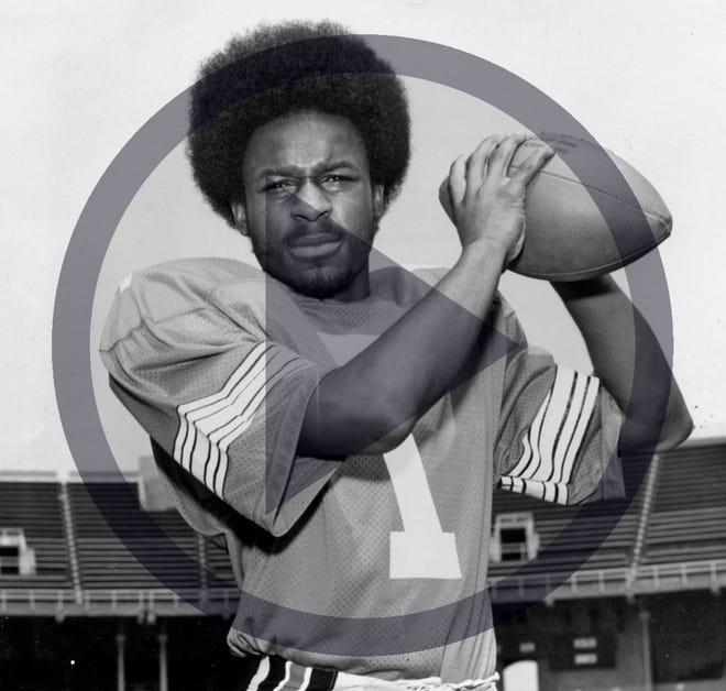 Black and white file photo of Cornelius Greene, Ohio State University's 1973 quarterback.