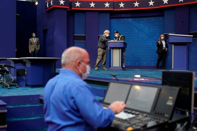 Debate preparations take place Monday inside the Sheila and Eric Samson Pavilion in Cleveland. President Donald Trump will debate  Democrat Joe Biden beginning at 9 p.m. tonight. [Patrick Semansky/The Associated Press]