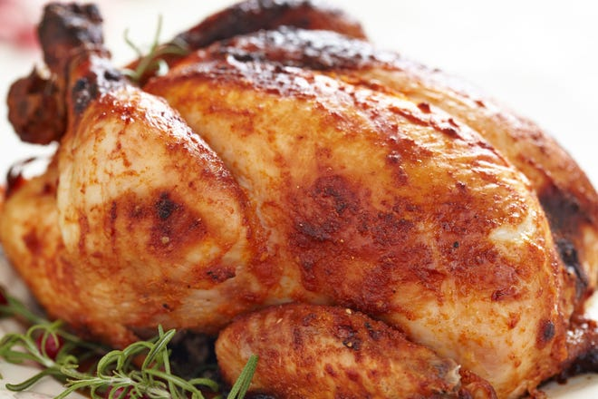 Rosemary roasted chicken with red grapes