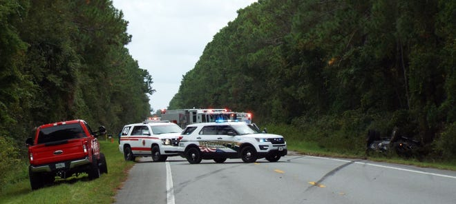 A three-vehicle crash, including a large pickup that rolled over in a ditch on the side of the road at 879 N. U.S. Highway 17 in Pierson left one person dead, the Florida Highway Patrol said.