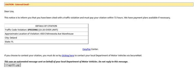 This is an example of an email sent out to DeLand residents as part of a traffic ticket scam, police said.
