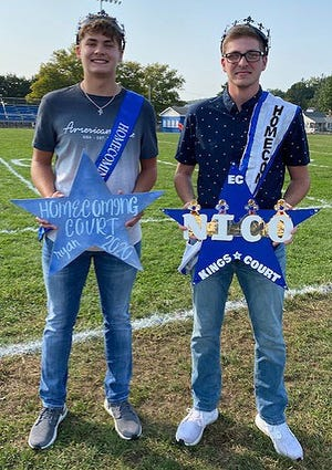 Lincoln High School seniors Ryan Gibbons (left) and Nico DeCaria  were both crowned homecoming kings on Friday prior to the Wolverines games against the Beaver Falls High School Tigers.