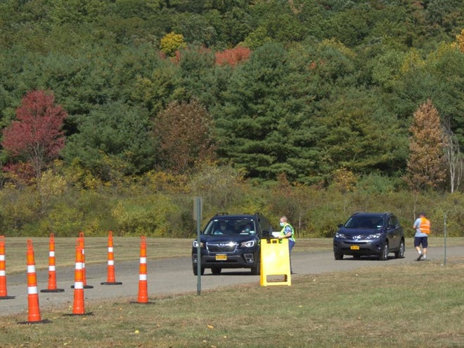 Steuben County residents lined up at the Victory Highway Wesleyan Church in Painted Post Saturday for the second and final day of drive-through COVID-19 testing sponsored by the county Public Health Department through the New York State Department of Health.