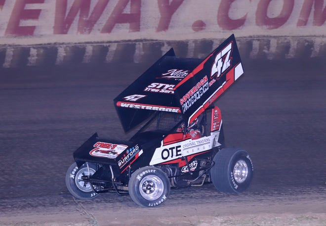 Dylan Westbrook of Ontario, Canada, won the 34-lap Sprint Invaders season finale Saturday at 34 Raceway.