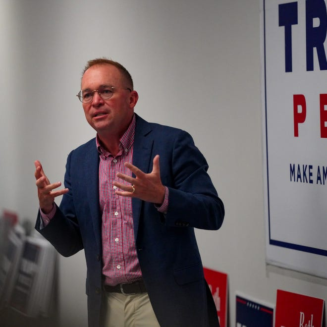Mick Mulvaney makes the case for supporting President Donald Trump in his re-election bid at the Hudson Republican Victory Center Thursday, Sept. 24.