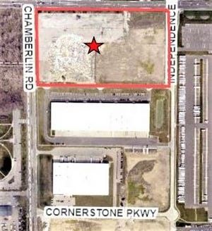 This map shows the location of a proposed 297,000-square-foot multi-tenant spec building that would be located on the southeast corner of Route 82 and Chamberlin Road in the Cornerstone Business Park.