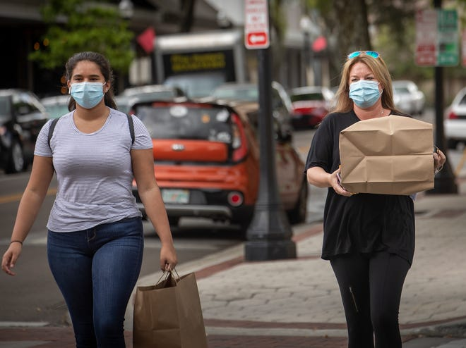 Jonelle Dant, right, and Sydney Dant, left, wear masks as they carry their takeout lunch near Munn Park in Lakeland earlier this year.