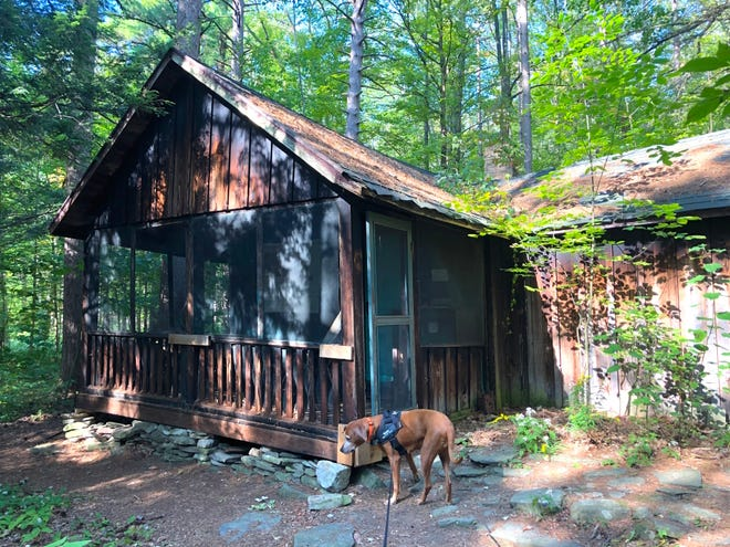 We approach the Weinrich cabin on the Red trail in Wesley Hill Nature Preserve.