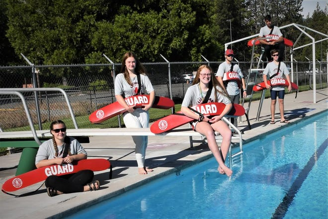 Lifeguards assemble at the beginning of the 2020 season at Weed's Bel Air Pool.