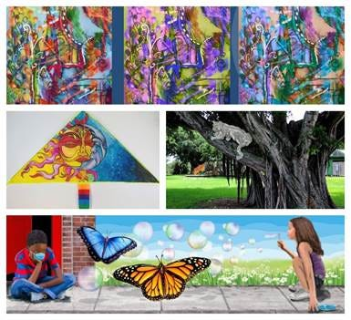 "The art to be created citywide will include: clockwise from top: Abstract Pop! - Peggy ""Batia"" Lowenburg; Spirits of South Florida - Gregory Dirr; Reclaiming the Distance- Ken Mullen; Let's Go Fly a Kite - Anthony Burks, Sr."