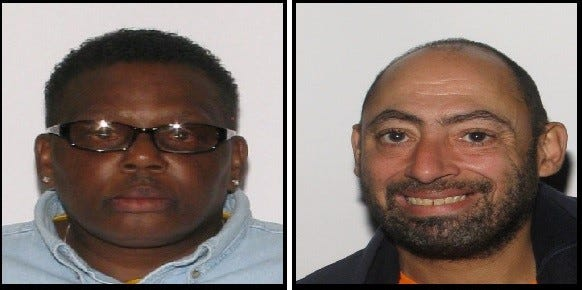 Prince George Police captured Esther Gordon, left, shortly after the robbery. She has been charged with robbery and malicious wounding. Her alleged accomplice, Van Scaturro, was caught late Monday afternoon in Hopewell. Police are still looking for the driver of the minivan in which Scaturro reported left the scene.
