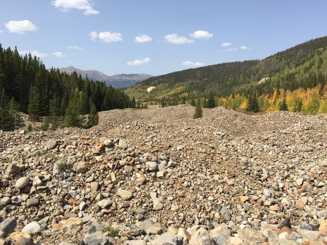 Three-mile-long rubble from dredge tailings line French Gulch just east of Breckenridge, Colo.