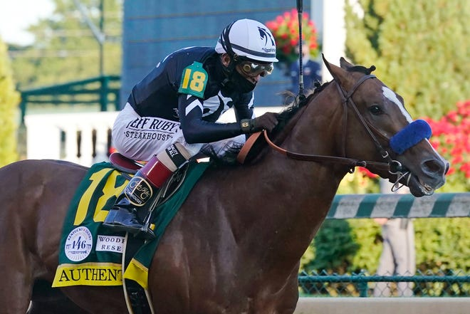 Kentucky Derby winner Authentic, ridden by jockey John Velazquez, is the morning line favorite at 9-5, and drew the No. 9 post in a field of 11 horses for Saturday's Preakness Stakes.