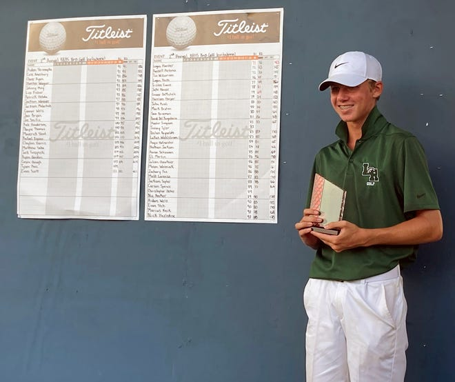 Tim Williamson, of Lakewood Ranch High, poses with his second-place trophy after finishing even par in the two-day Braden River Invitational on Saturday.