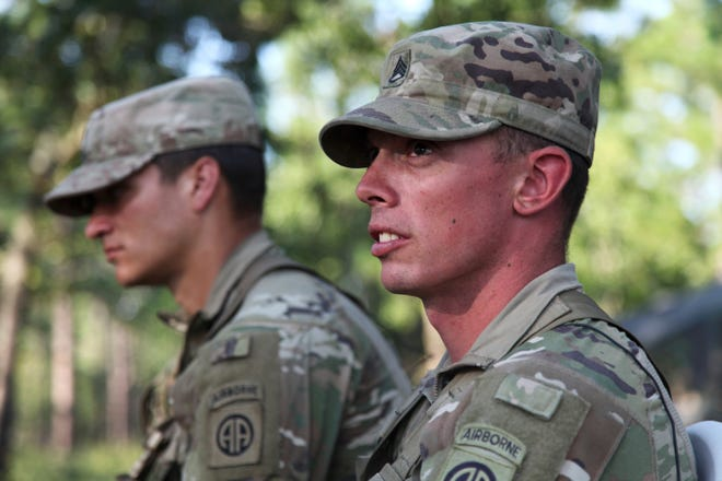 Staff Sgt. Ryan Graves talks about the death of a fellow soldier, Staff Sgt. Jason Lowe, during an interview on Fort Bragg. Days before taking his own life, Lowe graduated second in his class in the Army's Advanced Leader Course. [AP Photo/Sarah Blake Morgan]