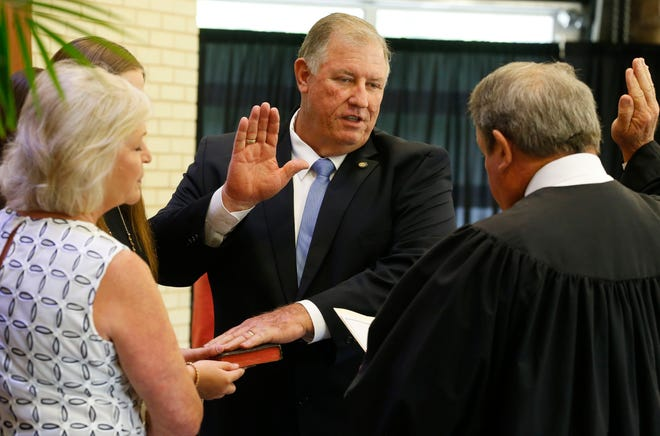 District 6 Councilman Eddie Pugh, seen here taking the oath of office in 2017, has announced his intentions to seek a third term on the Tuscaloosa City Council. [Staff file photo/Gary Cosby Jr.]