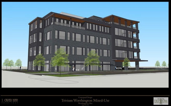 Columbus-based Trivium Development has submitted plans to the city of Worthington to build a 46,000-square-foot building with modern office space, 12 to 24 boutique hotel rooms, a restaurant and a private club in the Worthington Gateway.