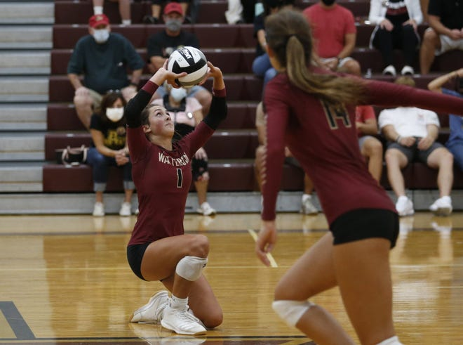 Watterson's Sophie Mangold sets the ball as teammate Gina Grden looks on during a match against Hartley on Sept. 10. The Eagles were 9-4 overall and 5-1 in the CCL before playing DeSales on Sept. 29.