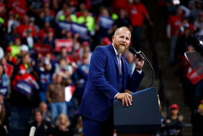 In this Oct. 10, 2019, file photo, Brad Parscale, then-campaign manager for President Donald Trump, speaks during a campaign rally at the Target Center in Minneapolis. Parscale was hospitalized Sunday after he threatened to harm himself, according to Florida police and campaign officials.