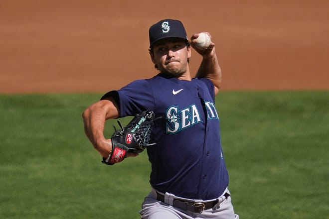 Seattle's Marco Gonzales, seen here in 2020 against Oakland, is expected to lead a six-man rotation for the Mariners in 2021, a plan that allows more rest and development opportunities for the M's group of young arms.