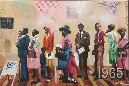 """Just Lookin' Gallery's exhibit, """"The Challenge of Change: Civil Rights in America"""", opened on August 22 at the Hagerstown, Maryland gallery and runs through election day on Tuesday, Nov. 3.  This piece is called """"Vote Any Way."""""""