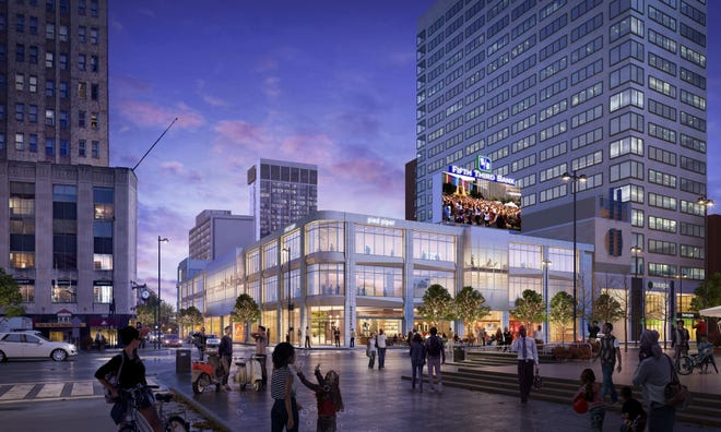 A rendering of the former Macy's department store that will be redeveloped into a mix of commercial and office space.