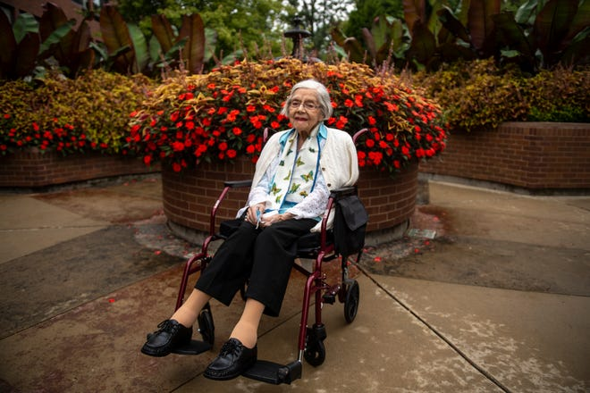 Beatrice Lea poses for a portrait at Maple Knoll Communities in Springdale on Monday, Sept. 28, 2020. Born in 1913, Beatrice has lived through major events such as the 1918 flu pandemic, World War I and World War II.