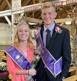 Dilyn Tumblin and Luke Massie were named queen and king of the Coshocton County Junior Fair on Sunday.