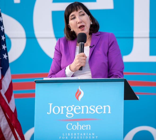 Libertarian Party candidate for President, Jo Jorgensen, addresses the crowd during a campaign stop in Westfield, Ind., at Grand Park Sunday, Sept. 27, 2020. A few hundred people attended her only scheduled campaign stop in Indiana.