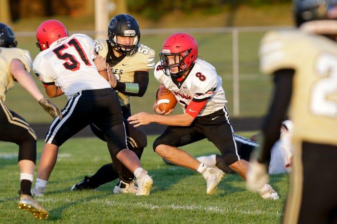 Clinton Prairie's Kade Osborn (8) runs the ball during the first quarter of an IHSAA football game, Friday, Sept. 25, 2020 in Delphi.